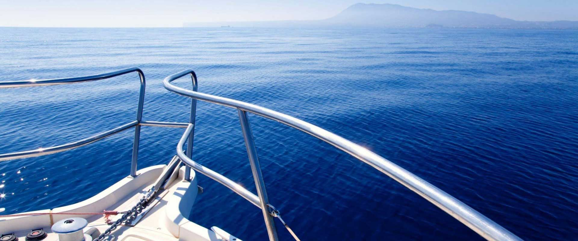 bow of yacht offshore