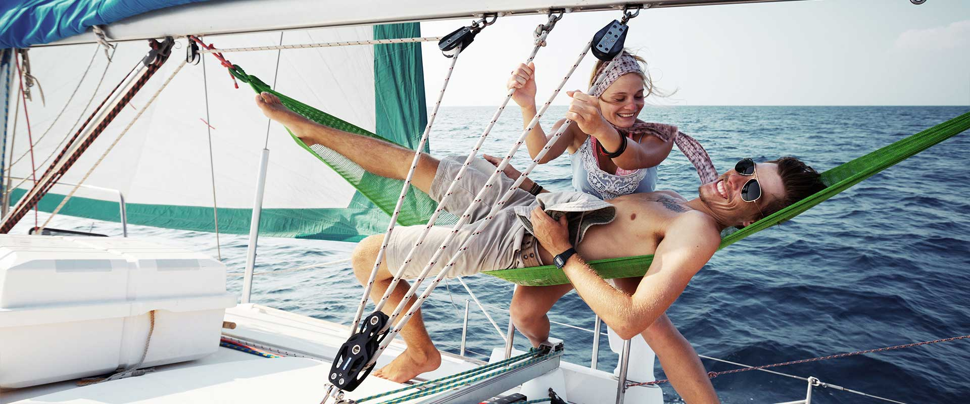 lounging in hammock on sailboat